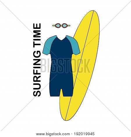 Surfing icon Vector illustration Male surf suit surf board and goggles for swimming Isolated icon on white background Thin line style