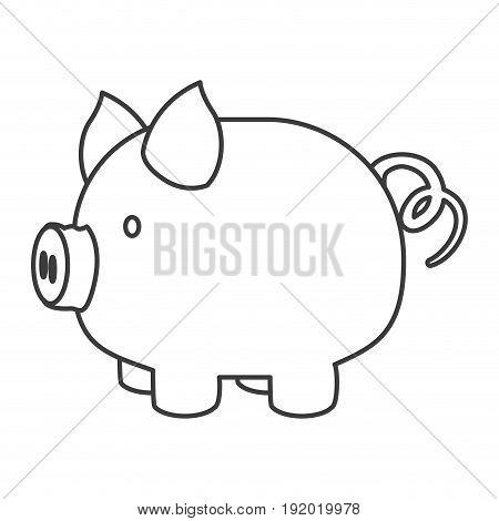 monochrome silhouette of piggy bank vector illustration