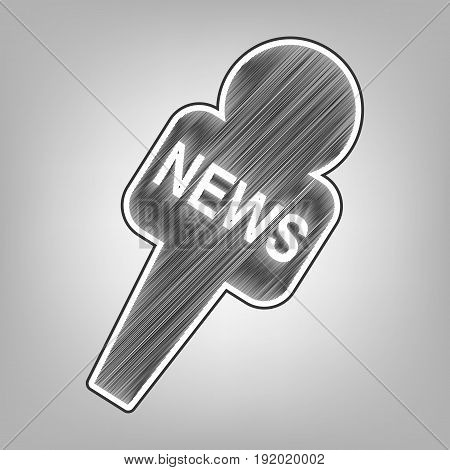 TV news microphone sign illustration. Vector. Pencil sketch imitation. Dark gray scribble icon with dark gray outer contour at gray background.