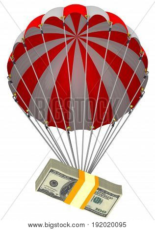 The depreciation of the US dollar. A pack of American dollars descends on a parachute. Isolated. 3D Illustration