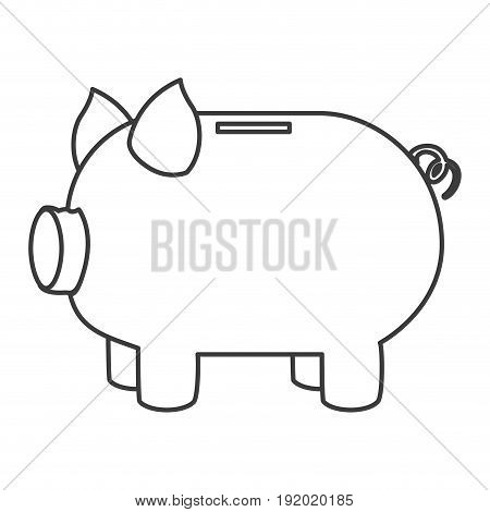 monochrome silhouette of moneybox in shape of pig vector illustration