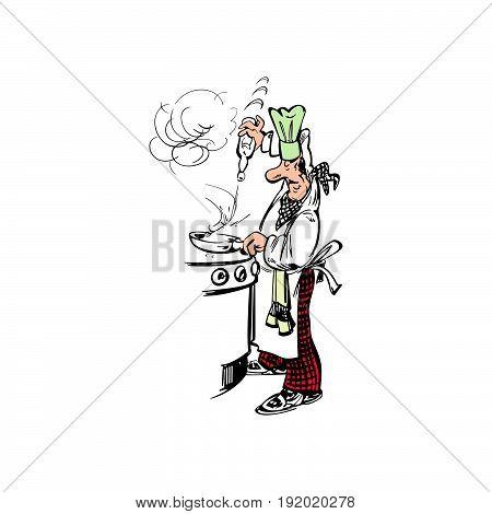 chef cooking cartoon . Vector Illustration design