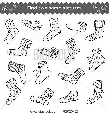 Find two identical pictures, education game for children, vector set of socks