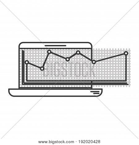 monochrome silhouette of laptop computer and financial risk graphic vector illustration