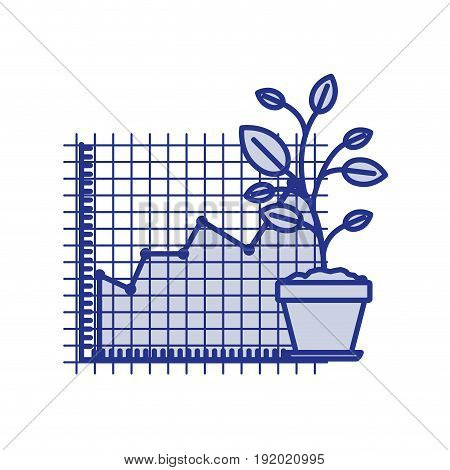 blue silhouette of growing and financial risk graphic vector illustration