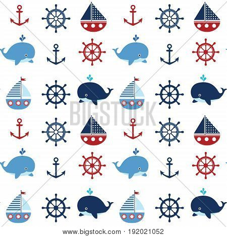 Cute seamless nautical pattern with boats and whales in red and blue colors for kids clothing greeting cards and baby shower backgrounds