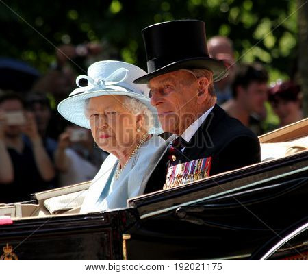 LondonEngland 17th June 2017 HM Queen Elizabeth & HRH Prince Phillip on way to Horseguards Parade for Trooping The Colour
