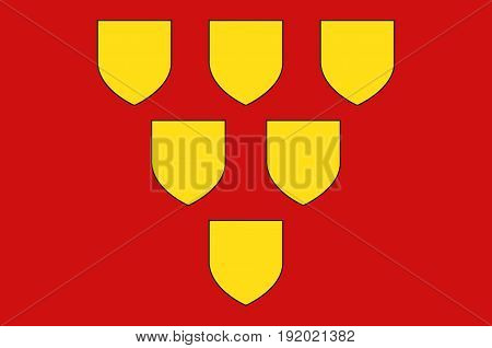 Flag of Mayenne is a commune in the Mayenne department in north-western France. Vector illustration