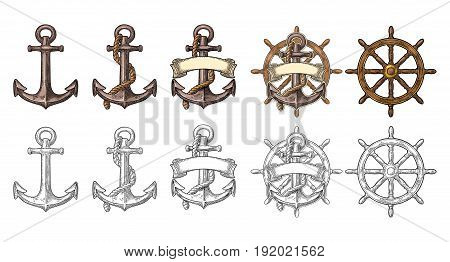 Anchor and sheep wheel with ribbon isolated on white background. Vector color and black vintage engraving illustration. Hand drawn in a graphic style.