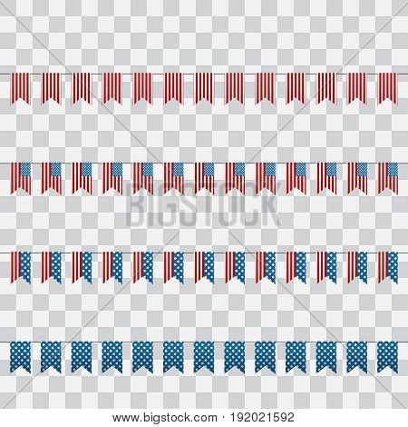 Set of American Flags for Design. 4th of July. Decoration set of garlands for USA national holidays events banners posters web.. Fourth of July vector