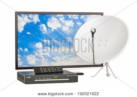 TV set with digital satellite receiver and satellite dish telecommunications concept. 3D rendering