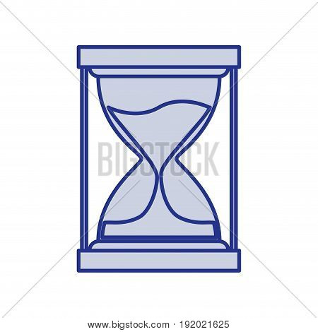 blue silhouette of sand clock icon vector illustration