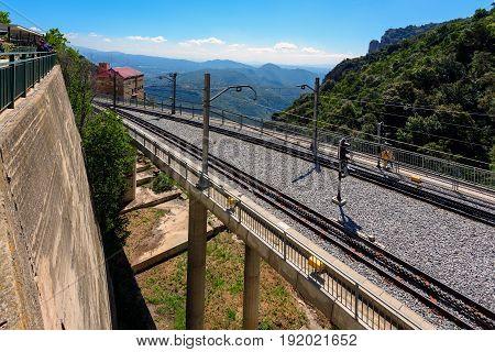 Cable car rail road at Montserrat monastery, Catalonia, Spain