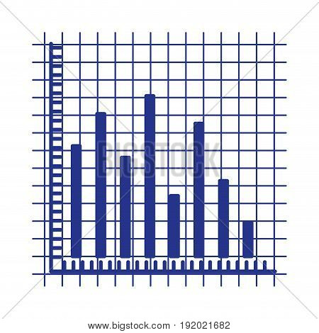 blue silhouette of statistic graphic bars vector illustration