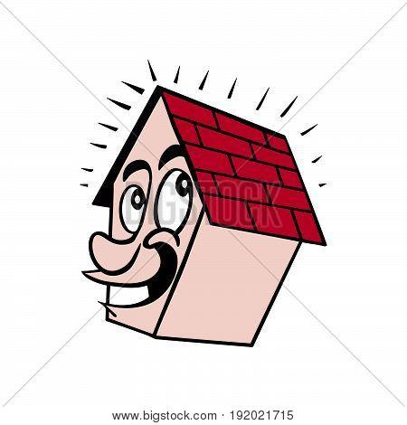 cute house smile cartoon. vector Illustration design.