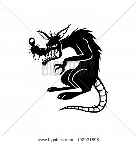 evil black rat . cartoon character . Vector Illustration.