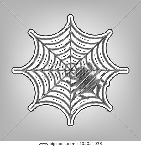 Spider on web illustration. Vector. Pencil sketch imitation. Dark gray scribble icon with dark gray outer contour at gray background.
