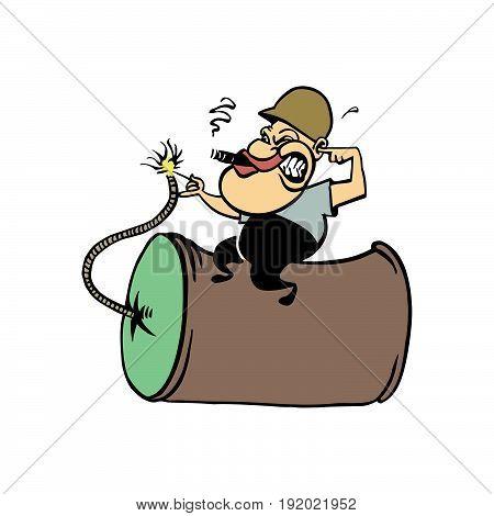 humorous cartoon, man holding bomb cartoon. vector illustration