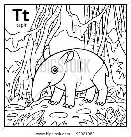 Coloring book for children colorless alphabet. Letter T tapir poster