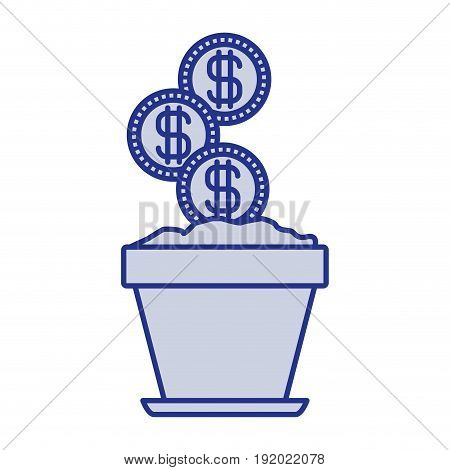 blue silhouette of flower pot with set of coins vector illustration