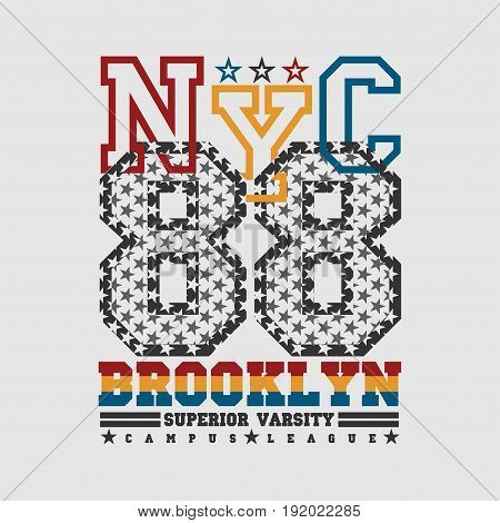 T-shirt New york Brooklyn sports athletics Typography Fashion college sport design clothing
