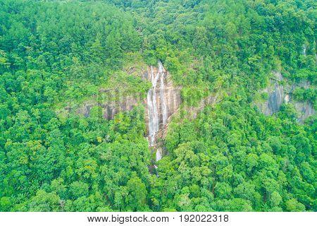 Aerial view of Siriphum waterfall in rainy season at Doi Inthanon national park Chian Mai Thailand.