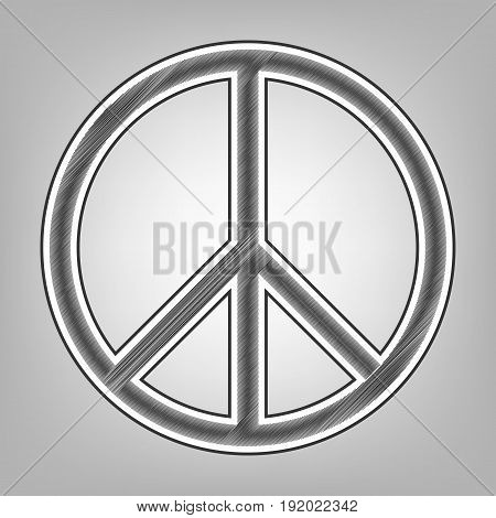 Peace sign illustration. Vector. Pencil sketch imitation. Dark gray scribble icon with dark gray outer contour at gray background.