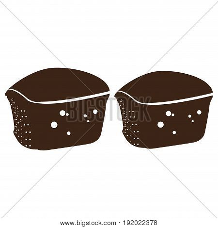 Isolated silhouette of a pair of muffins, Vector illustration