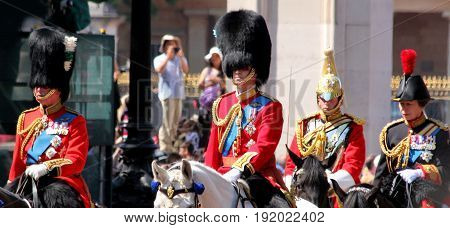 London England 17th June 2017 HRH Prince CharlesHRH Prince William & HRH Princess Anne on way to Trooping The Colour