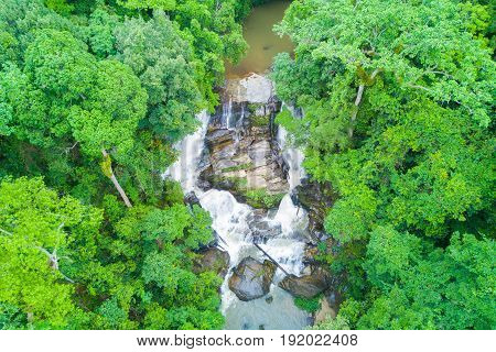 Aerial view of Sirithan waterfall in rainy season at Doi Inthanon national park Chian Mai Thailand.