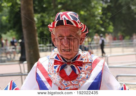 London England 17th June 2017 Tourist wearing a Union Jack outfit