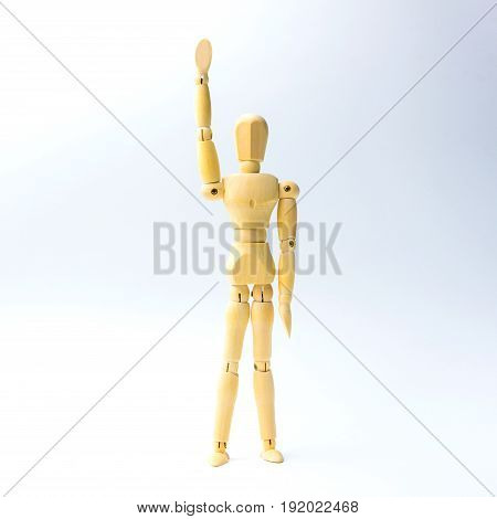 Wooden figure doll with hands up for volunteer business concept.