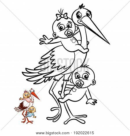 Stork with Babies Boy and Girl Coloring Book. Comic character isolated on white background Vector Illustration