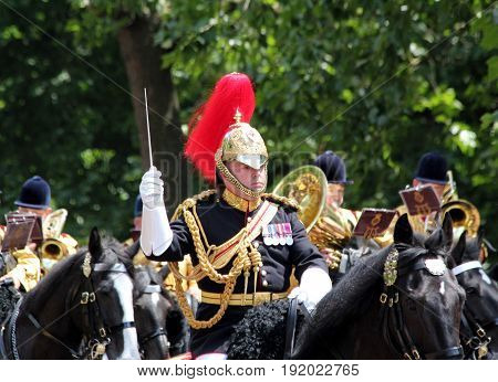 London England 17th June 2017 The Director of Music of The Household Cavalry Band During Trooping The Colour