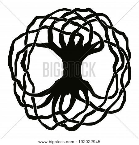 Celtic national ornament tree without leaves in the shape of a circle. Black ornament isolated on white background.