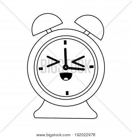 kawaii clock alarm time school icon vector illustration