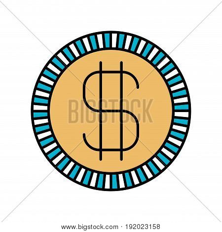 color sections silhouette of coin with money symbol vector illustration