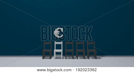 euro symbol and row of chairs - 3d rendering