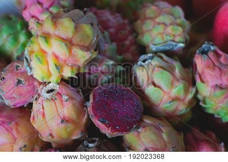 Dragon Fruit For Sale On Farmer's Market. Agriculture Background. Close-up. Top View
