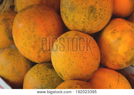 Papayas For Sale On Farmer's Market. Agriculture Background. Close-up. Top View