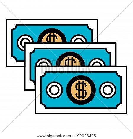 color sections silhouette of money bills set vector illustration