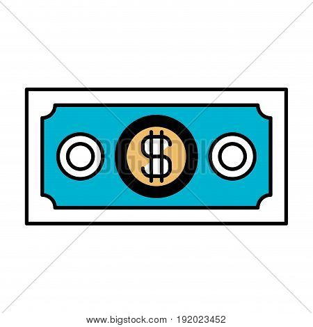color sections silhouette of money bill vector illustration