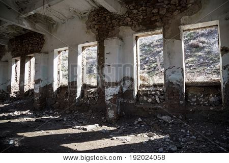The walls of an old abandoned building from the inside