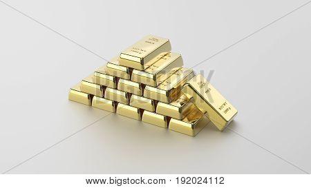 3D illustration closeup shiny pyramid of gold bars on a grey background