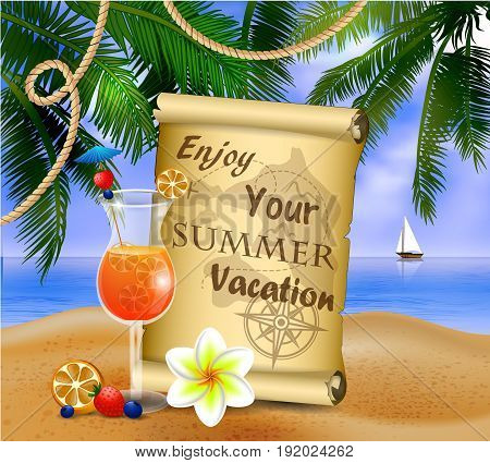 pirate treasure map on tropical background and exotic beverage vector