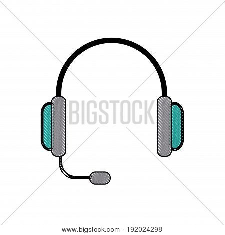 headset phone service call center business vector illustration