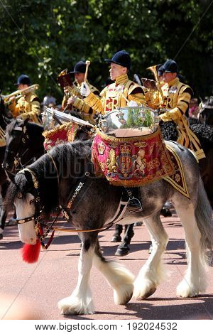 London England 17th June 2017 Drummer of The Household Cavalry Band During Trooping The Colour