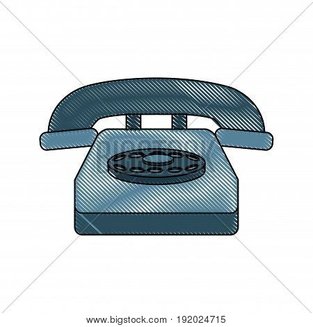 classic telephone communication call device retro vector illustration