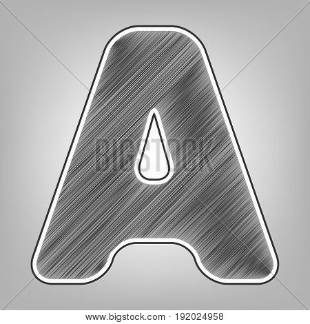 Letter A sign design template element. Vector. Pencil sketch imitation. Dark gray scribble icon with dark gray outer contour at gray background.