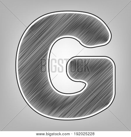 Letter G sign design template element. Vector. Pencil sketch imitation. Dark gray scribble icon with dark gray outer contour at gray background.